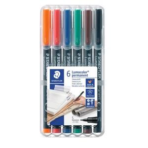 Set markere Lumocolor Staedtler 0.4 mm S permanent 6 culori ST-313-WP6