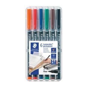 Set markere Lumocolor Staedtler 1.0 mm M permanent 6 culori ST-317-WP6