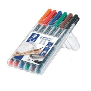 Marker permanent Staedtler Lumocolor 0.6 mm F 6 culori/set ST-318-WP6