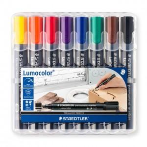 Marker permanent Staedtler Lumocolor varf tesit 8 culori/set ST-350-WP8