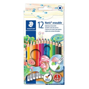 Creioane colorate Staedtler cu radiera 12 bucati / set ST-144-50NC1212
