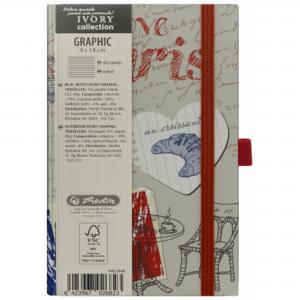Bloc Notes Herlitz, Ivory Graphic 9 x 14 cm, motiv Traveller, dictando H9482440