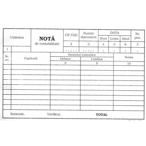 Nota de contabila A5 1163