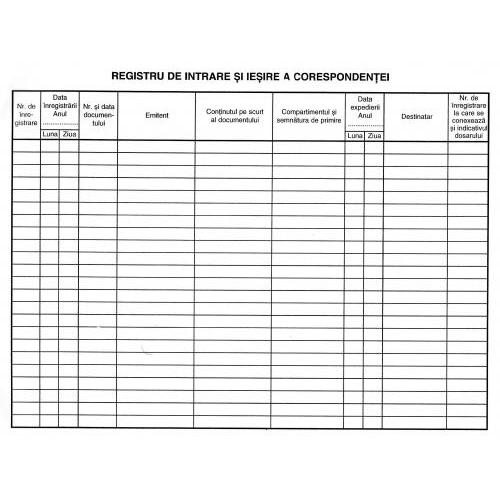 Registru intrare-iesire corespondenta (orizontal) 1172