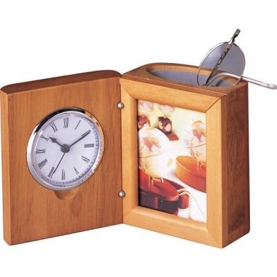 Suport pentru instrumente de scris cu ceas din mahon XJU0056