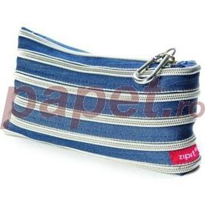 Penar cu fermoar ZipIt jeans cu dinti argintii ZP-3737