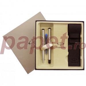 Set stilou cu pix Parker Vector silver 6855