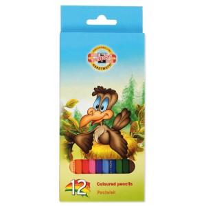 Creioane colorate Koh-I-Noor 12/set Lumea Pasarilor K3552-12P