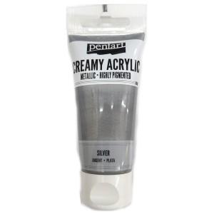 Acrylic color creamy metallic 60ML Silver P28008