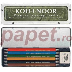 Set de 6 creioane mecanice colorate + guma de sters Koh-I-Noor K5217