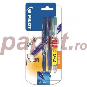 Pachet promo cu set rollere blister G2, Pilot Frixion Ball 0.7mm albastru plus G2 Pastel 0.7mm 9708