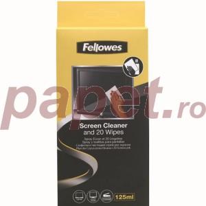 Spray Fellowes pentru curatare monitor 125ML si 20 servetele FE99701