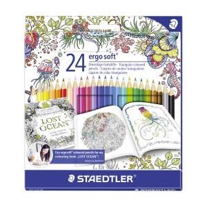 Creioane colorate Staedtler ergo soft Johanna Basford 24 culori / set ST-157-C24JB