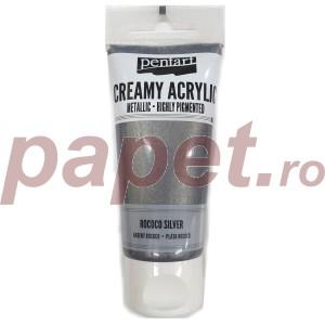 Acrylic color creamy metallic 60ML Rococo Silver P28022