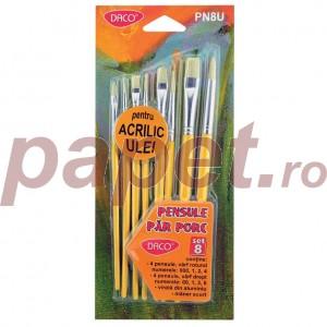 Pensule set 8 acril Daco PN8U
