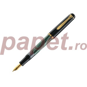 Stilou classic Pelikan M200 M cu piston negru/vberde marmor 984195