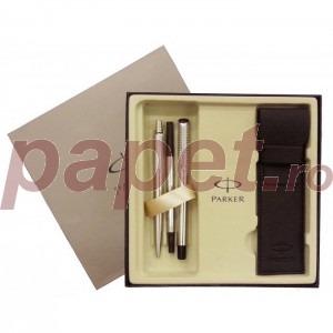 Set roller cu pix Parker Vector Premium silver 6854