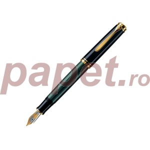 Stilou Pelikan Souveran M800 M, penita din aur 18k si corp negru cu verde 986539