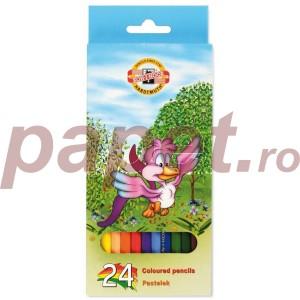 Creioane colorate Koh-I-Noor 24/set Lumea Pasarilor K3554-24P