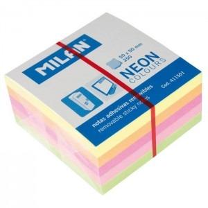 Notes adeziv 50x50mm 5 culori 250file neon Milan 411501