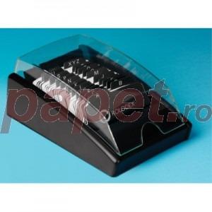 Fisier liniar din lemn negru  cu tavita si capac 300 carduri 1734236