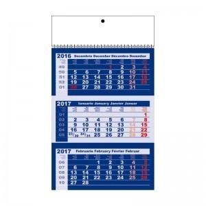 Calendar triptic 2017 A3 cretat lucios cu spira metalica 9781
